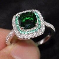 Прохладный choucong милые Модные украшения ручной работы 100% стерлингового серебра 925 5A Ясно Зеленый CZ Для женщин свадебные Обручение кольцо под