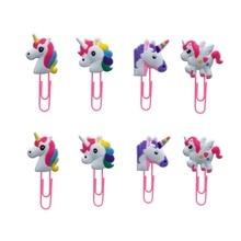 8Pcs Cartoon Unicorn Figures Bookmark For Books Paper Clip School Supplies DIY Decoration Kids Xmas Gifts