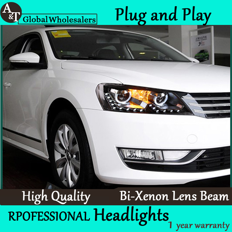 Free Shipping Car Styling for VW Passat B7 Headlight assembly VW LED Headlight DRL Lens Double Beam H7 with hid kit 2 pcs.