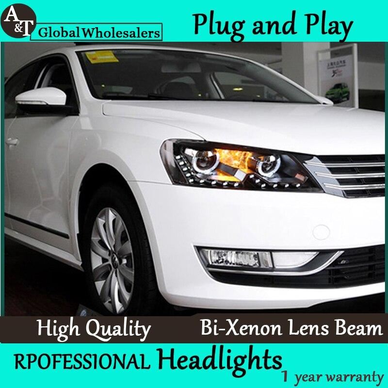 Бесплатная доставка стайлинга автомобилей для VW Пассат Б7 фары сборки светодиодного линза фары двойной Луч HID комплект H7 с 2 шт.