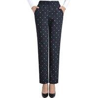 נשים אביב סתיו מקרית דוט מודפס מכנסיים מכנסיים ישרים גבוהים מותניים למתוח Loose מכנסיים מותניים אלסטי בתוספת גודל XL-5XL