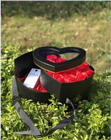 Hreat Shape Valentine S Day Gift Box PVC Transparent Cover Florist Packing Flower Box Wedding Party