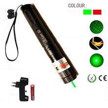 الأخضر/أحمر مؤشر ليزر 532nm 5 mW 303 قلم ليزر قابل للتعديل مليء بالنجوم رئيس حرق مباراة الليزر مع 18650 بطارية + شاحن