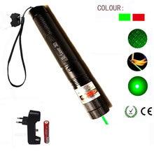 Grün/Rot Laser Pointer 532nm 5 mW 303 Laser Stift Einstellbare Starry Kopf Brennen Spiel lazer Mit 18650 Batterie + ladegerät