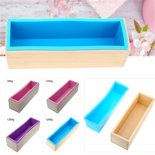 Rectangular Wooden Soap Mold with Silicone Liner and DIY Loaf Swirl Soap Mold Tool DIY Soap Candle Mould 0.9/1.2kg Mould