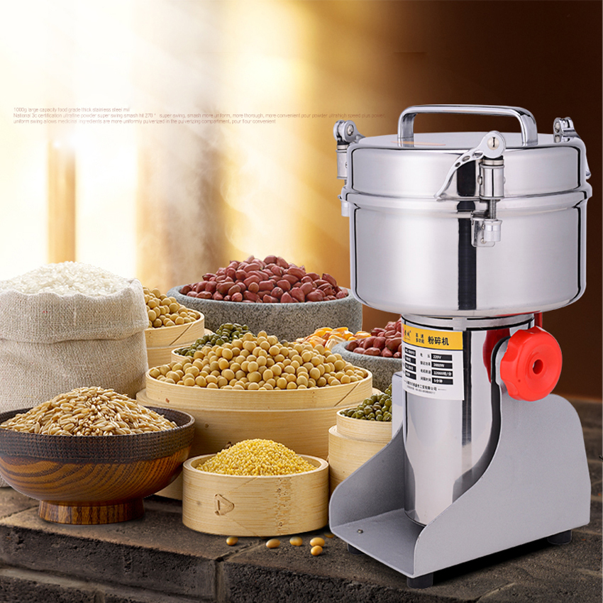 1000G Grain Grinder Food ingredients Pulverizer Swing Type Portable Food Herb Mill Grinding Power Machine High Quality 220V devil skull alloy biker ring