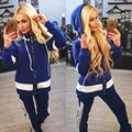 Patchwork Womens Sportswear Set Long Sleeve Hoodie Jacket and Long Pants Leisure Suit Female Autumn Tracksuits Women for Fitness