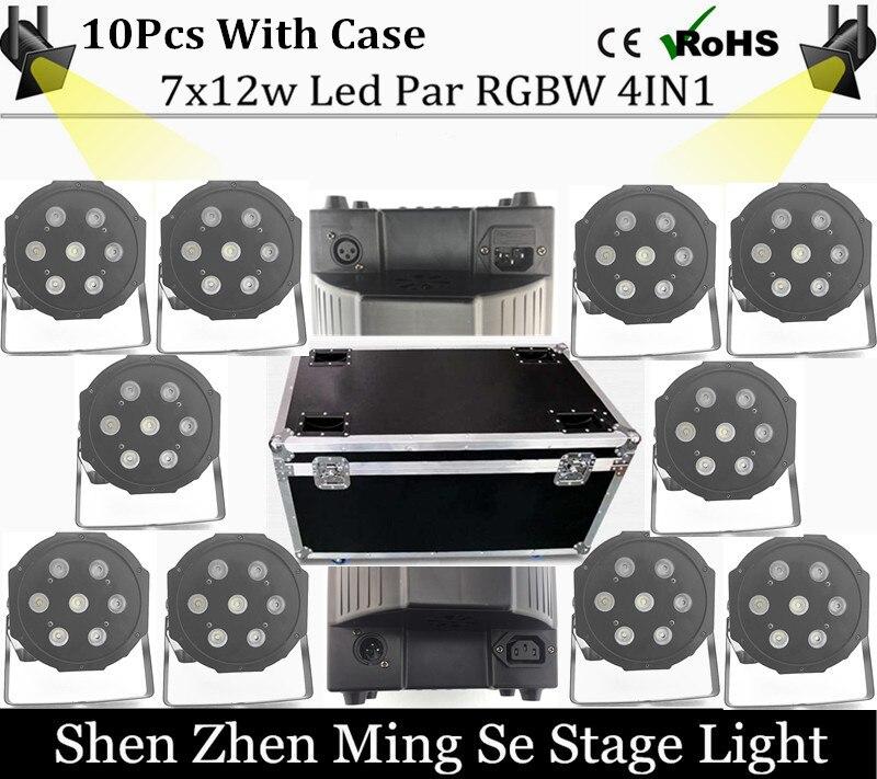 10cs/lot  7x10W led Par lights RGBW 4in1 flat par led dmx512 disco lights professional stage dj equipment with flight case