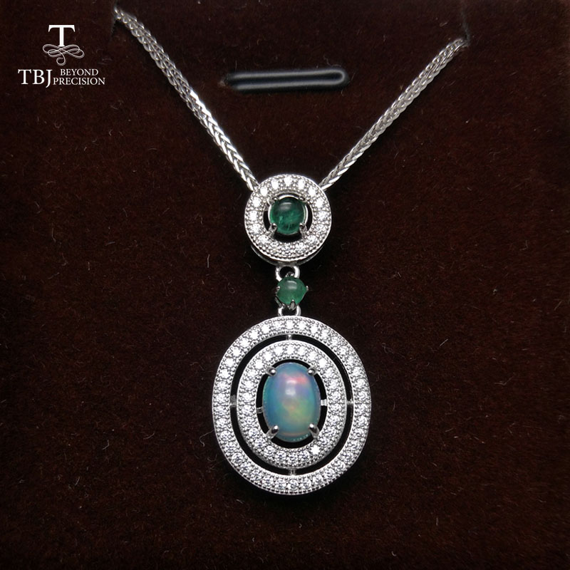 TBJ,Natural Good quality Ethiopian Opla and Green Emerald Gemstone Pendant  silver chain classic design for women gift with boxTBJ,Natural Good quality Ethiopian Opla and Green Emerald Gemstone Pendant  silver chain classic design for women gift with box