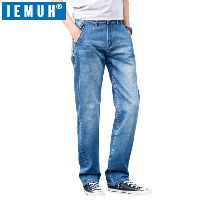 IEMUH Brand Men's   Jeans   Classic Direct Stretch Business Casual Denim Pants Slim Scratched Long Trousers Gentleman Cowboys 28-48