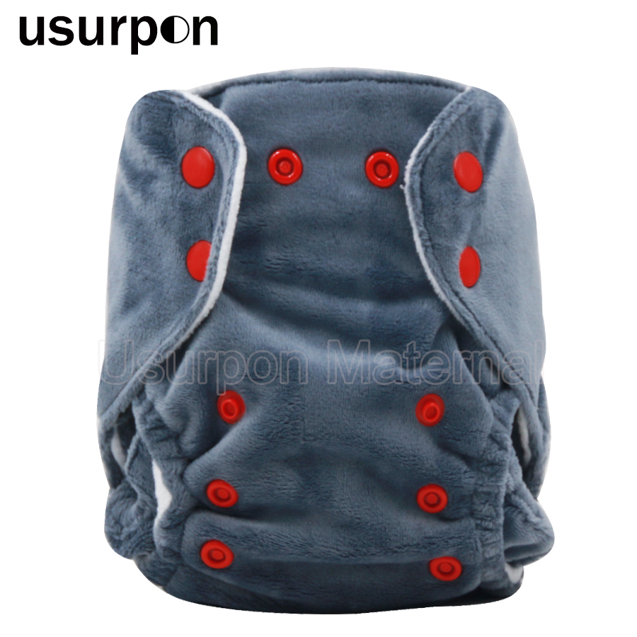 [usurpon] 1 Pc Newborn Cloth Diaper Solid Minky Fabric Baby Diaper Washable And Waterproof Reusable Cloth Diapers Baby