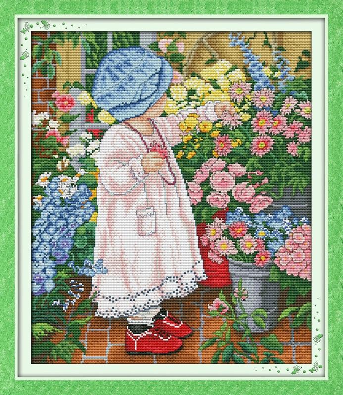 Indah Bunga gadis Dicetak Kanvas DMC Dihitung Cina Cross Stitch Kit - Seni, kerajinan dan menjahit