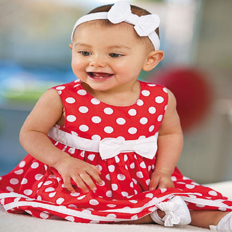 Baby Dresses Red Clothes 2017 Summer Cute Baby Girls Dress Party Wedding Toddler Infant Girl Dots Bowknot Tutu Dress+Shorts Set