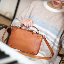 New retro leather small square bag art simple handbag top layer leather slung shoulder bag