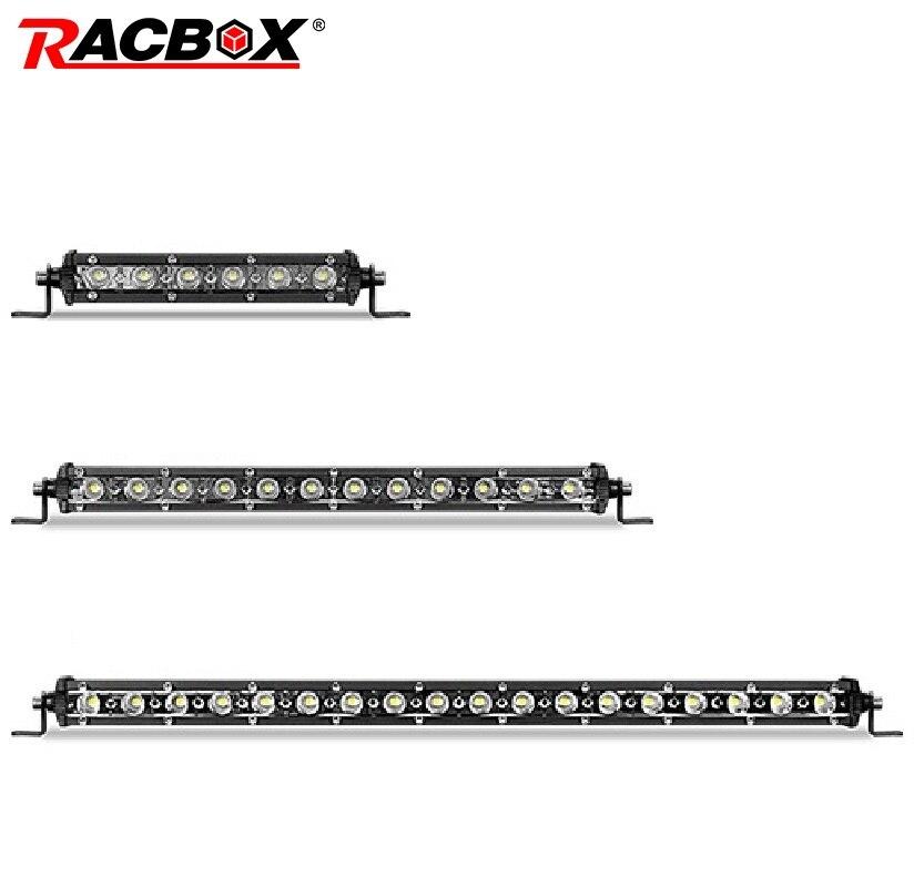 RACBOX 7 10 13 20 cal Super cienki listwa świetlna LED robocza jeden rząd miejscu powódź Combo reflektor świateł mijania 12V 24V światła przeciwmgielne do jazdy światło robocze