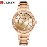 New Fashion CURREN Luxury Brand Women Quartz Watch Crystal Design Ladies Wristwatches Dress Fashion relogio feminino reloj mujer