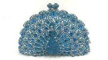 Freies verschiffen!! A15-48, blaue farbe mode top kristallsteinen ring handtaschen für damen nette parteibeutel