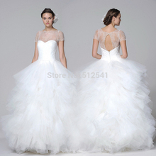 Sheer-illusion Sweetheart Ball Gown Wedding Dresses Short Sleeves Lace Ruffle Floor Length Bridal Gowns yk1A338