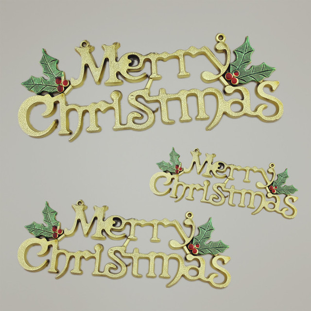 2014 cute 3d plastic merry christmas words letters christmas tree door decoration k