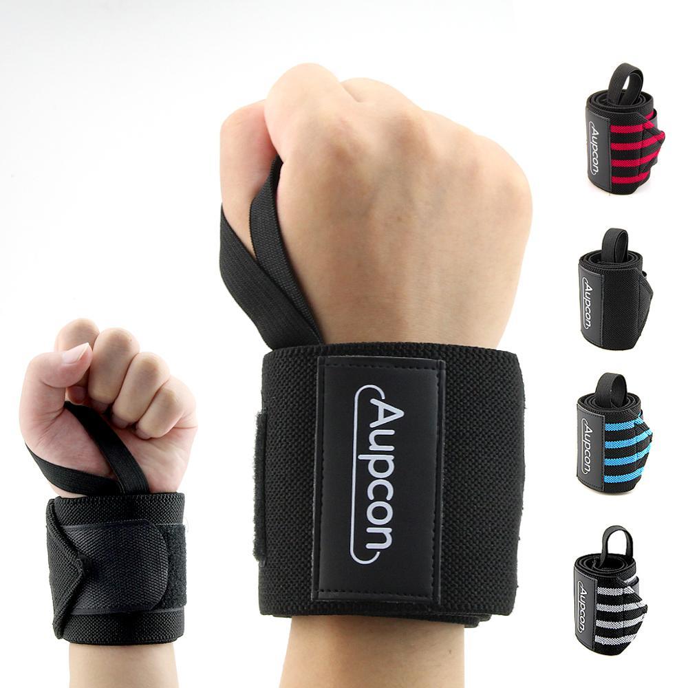 Aupcon 2 PCS 손목 지원 체육관 역도 훈련 역도 장갑 바 그립 바벨 스트랩 랩 손 보호