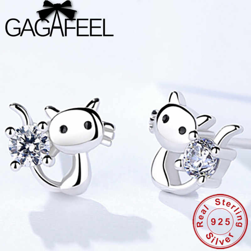 GAGAFEEL 100% Sterling Silver Cute Cat Earrings for Girls Women Romantic CZ Zirconia Ear Studs Fashion Jewelry Gift Wholesale