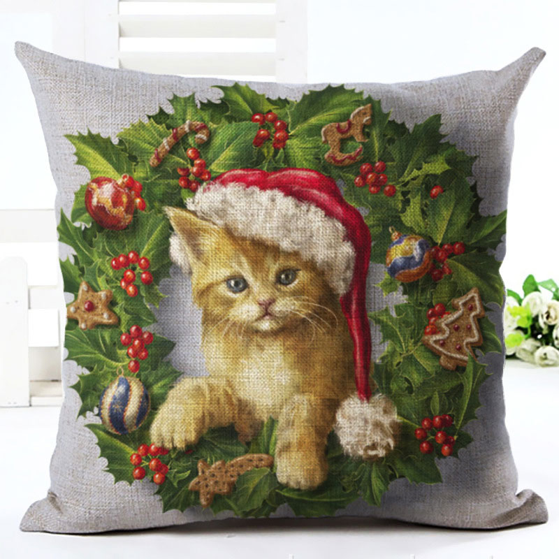 2019 New Year Cartoon Pattern Cat and Dog 45x45cm Pillowcase Merry Christmas Decorations for Home Santa Clause Linen Cover Natal (8)