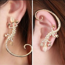 Brincos 2018 New Fashion Accessories Rhinestone Ear Cuff Earrings Elegant Exaggerated Gekkonidae Lizard Hot Sale Stud
