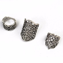 3Pcs/set Punk Style Bohemian Amazing Ring Hollow Out Flower Silver Knuckle Finger Rings For Women Fashion Jewelry Turkish punk style pure color hollow out ring for women