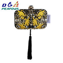 Upscale Chinese Style Evening Clutch Bag Women Clutch Bag Ladies Tassel Evening Clutches Purses High Quality Clutches Handbag chinese old school style women red silk floral appliques beading sequins embroidery metal frame evening clutches purse handbag