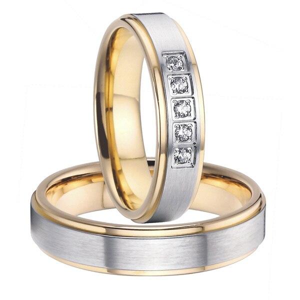 2015 alliances classiques couleur or santé titane acier bandes de mariage promesse anneaux ensembles pour couples