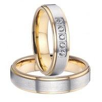 2015 classic alliances gold colour health titanium steel wedding bands promise rings sets for couples