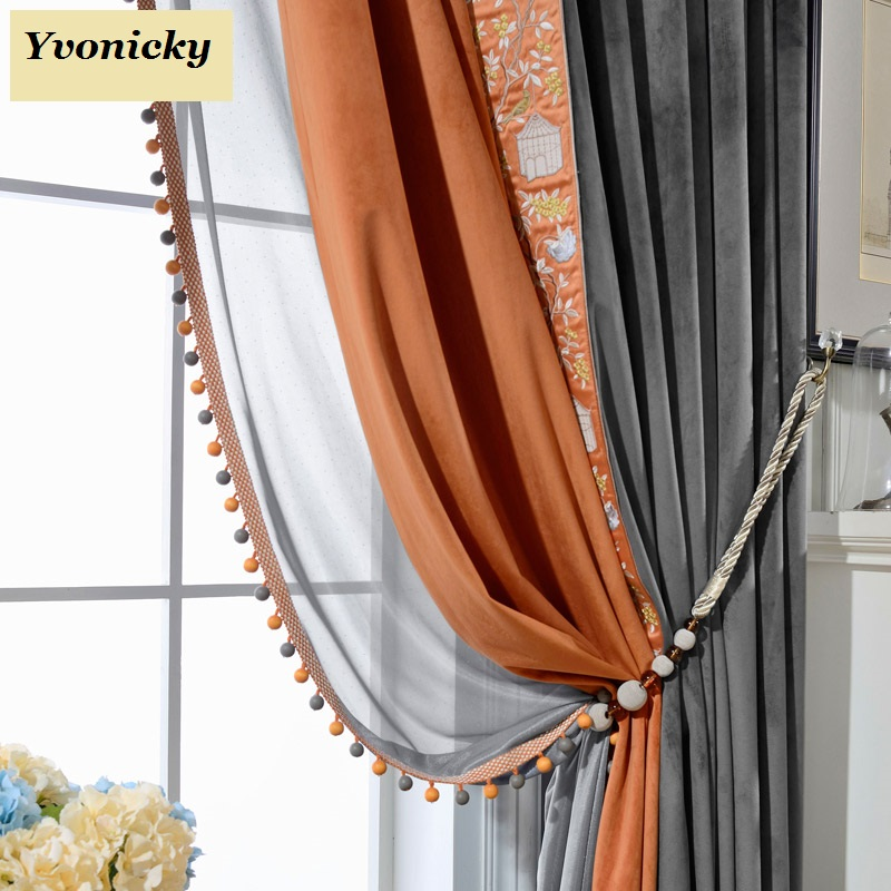 Custom Made Curtain and Tulles with beads Blackout Curtain for Bedroom Living Room tende camera da letto solid colors cortinas