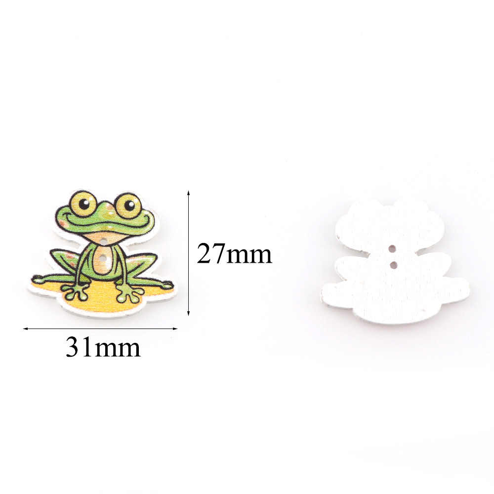 """50 sztuk 27*31mm Mix kolor żaba drewniane, proszę kliknąć na przycisk """" z 2 otworami Scrapbooking do szycia ubrania DIY Handmade craft"""