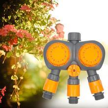 Temporizador de água sistema controlador irrigação temporizador jardim rega temporizador casa 3 porta 2 cabeça 120 minutos fluxo água