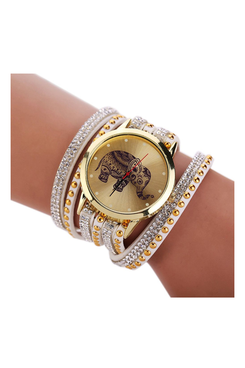 YCYS!Women Elephant Dial Rivets Multi Layers Faux Leather Wrap Wrist Watch White elephant faux gem beaded ring