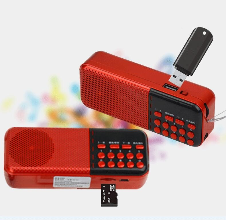 Pocket Radio Mini Portable Rechargeable Digital LED Display Stereo FM Radio Receiver Speaker Support USB TF Card Music Player