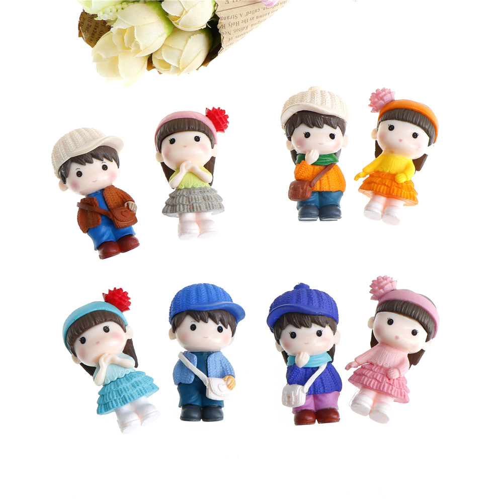 Gnome In Garden: 2PCS/Pair Couple Figurines Miniatures Sweety Lovers Fairy