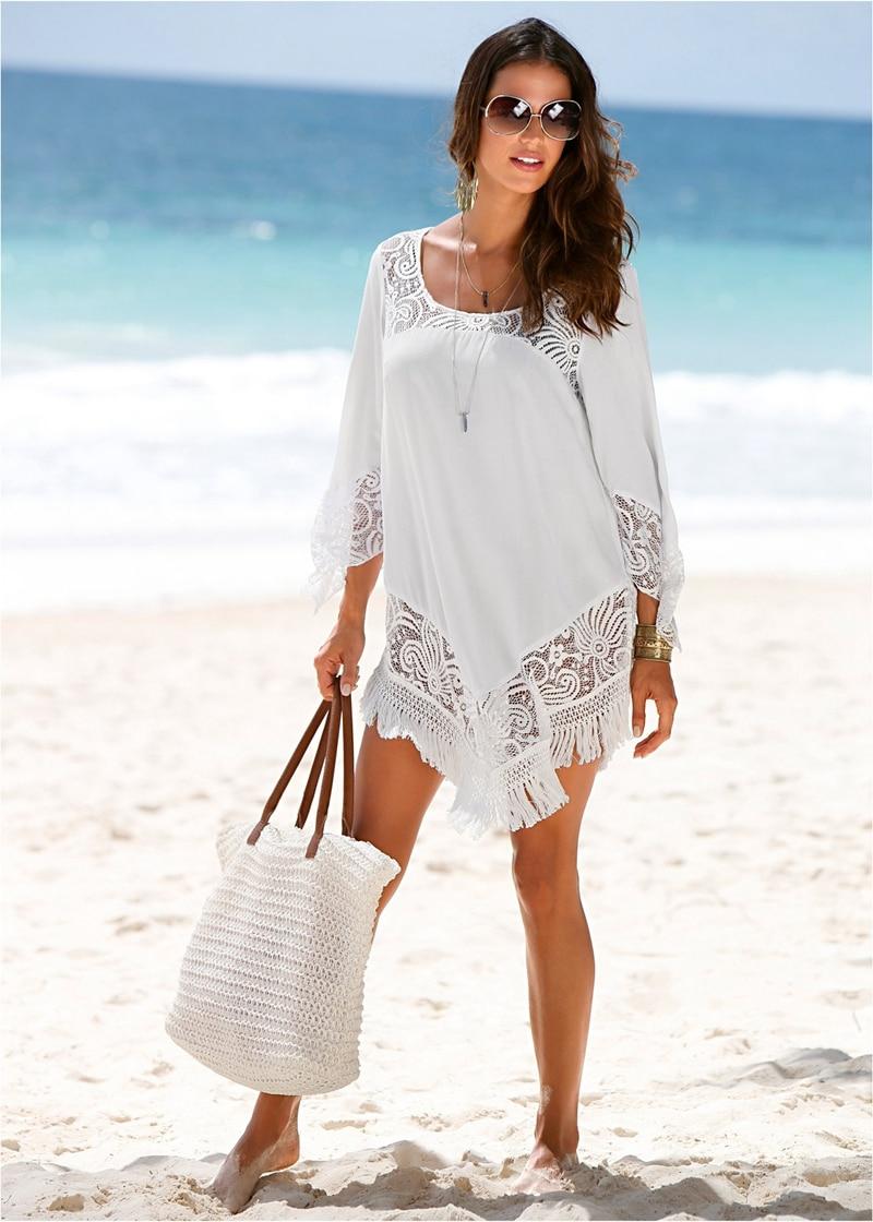 2018 pareo beach floral embroidery bikini cover up swimwear women lace crochet robe de plage
