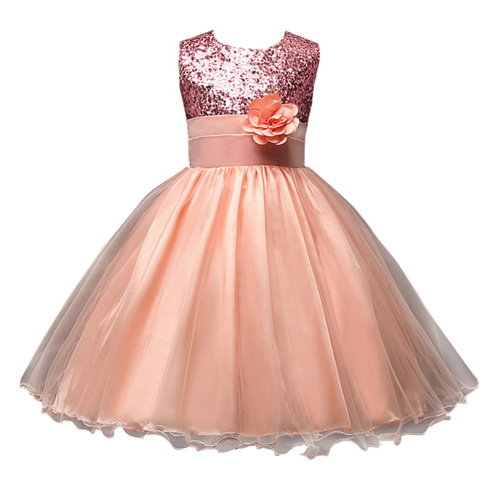 Princess Costume Dress Girl Wedding Dress Kids Lace Sequin Tutu Long Chiffon Party Halloween Skirt for Children with Flower