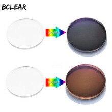 Bclear 1.67 색인 비구면 전환 선글라스 용 포토 크로 믹 렌즈 렌즈 학위 사진 회색 갈색 단일 비전 렌즈
