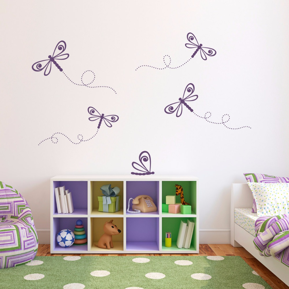 Dragonflies Removable Wall Stickers For Nursery Kids Girls Decoration Children Bedroom Vinyl