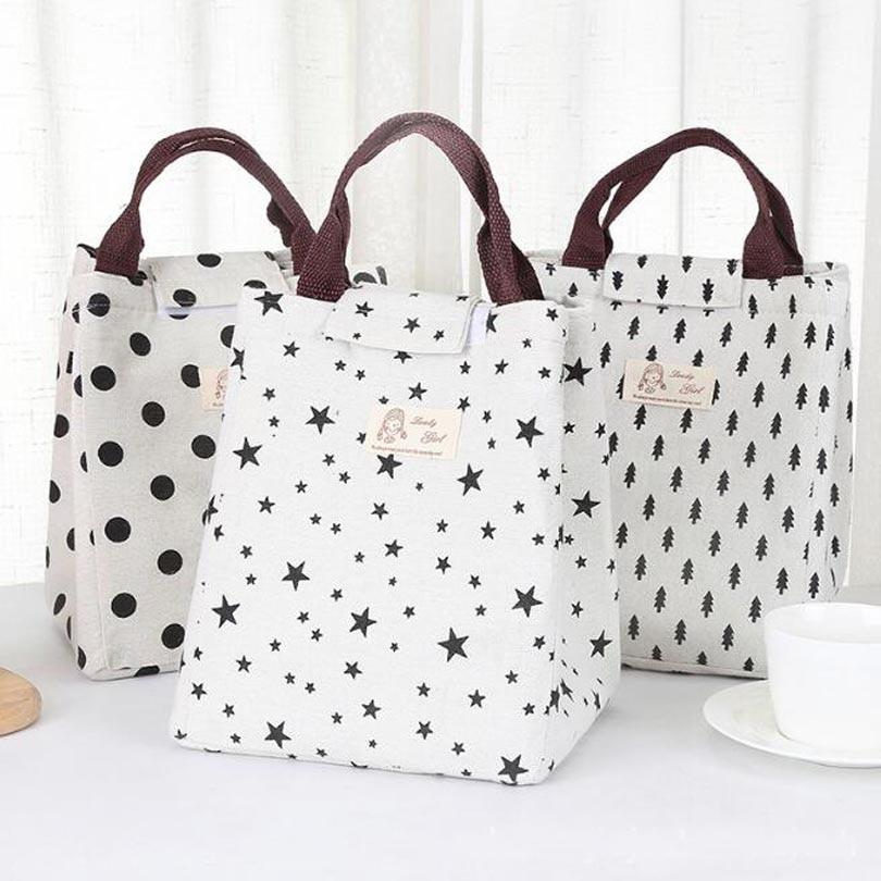 Waterproof Leisure Bag Cooler Lunch Bags Black Dot Pattern Hook Loop Opener Tote Kids Warm Keeper Insulation Picnic Lunch Box