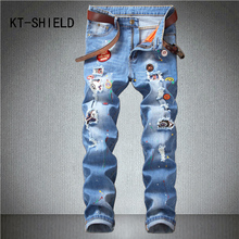 Ripped biker motorcycle slim straight jeans for mens brand skinny print denim trousers casual hombre cargo pants calca masculina