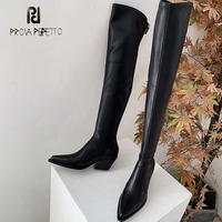 Prova Perfetto black genuine leather chunky heel women thigh high boots pointed toe chelsea long boots fashion lady knight boots