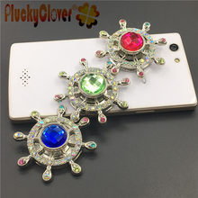 1 pc Captain Rudder Fidget Spinner With Diamond and Rhinestone Ferris Wheel Hand Spinner Metal Pirate Girls Phone Ornaments Gyro(China)