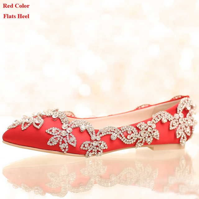 Online Shop White Satin Diamond Wedding Shoes Flat Heel Women ...