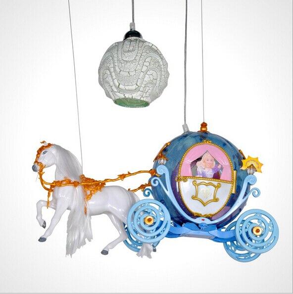 novel creative fairy tale cute lovely cinderella pumpkin carriage led e27 children's room pendant light for kids's room 1715