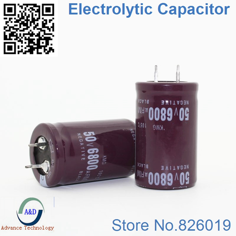 1pcs/lot 50V 6800UF Radial DIP Aluminum Electrolytic Capacitors Size 25*40 6800UF 50V Tolerance 20%