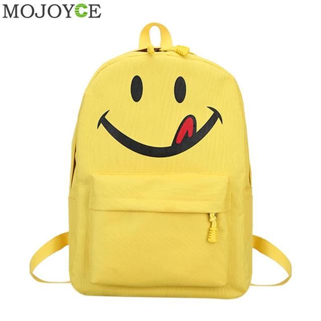 1e115c8639f2f ابتسامة صفراء الوجه على ظهره أزياء لطيف المرأة حقيبة من القماش طالب  المدرسية لينة حقيبة كتف