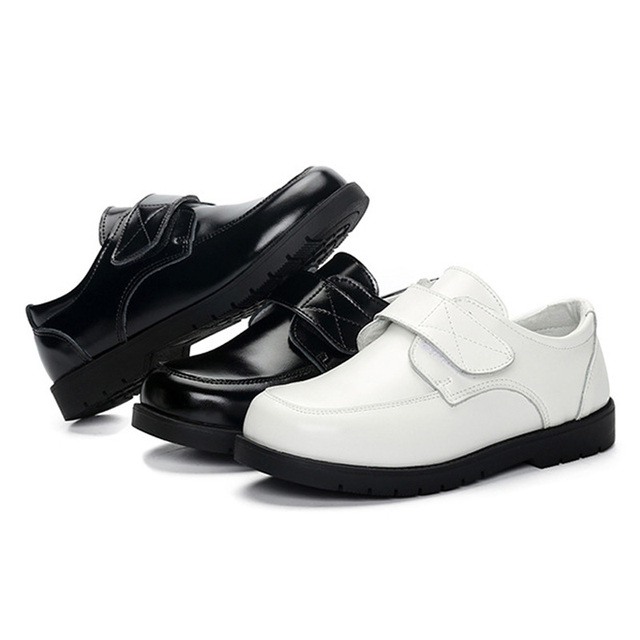 BeckyWalk Genuine Leather Children Shoes Boys Leather Shoes Black White School Shoes Party Kids Boy Performance Shoes CSH674